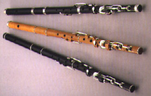 Three flutes made by Chris Wilkes