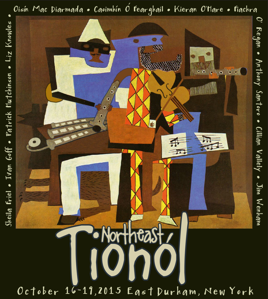 "T-shirt design for the 2015 Northeast Tionól, ""Pablo Piobcasso,"" by Tom Klein"