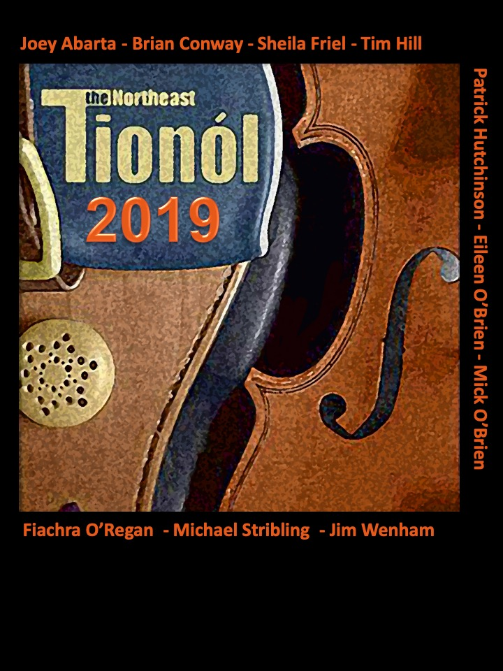 t-shirt design showing fiddle and uilleann pipes bellows with names of instructors for 2019